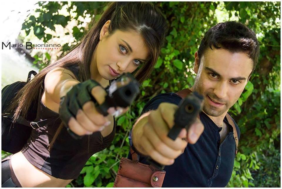 Lara Croft e Nathan Drake interpretati da Elisa Pepè Sciarria e Marco Bonafaccia