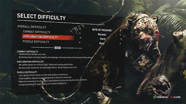 Difficoltà di Shadow of the Tomb Raider